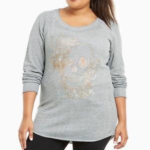 Torrid Metallic Skull Tuni Sweatshirt